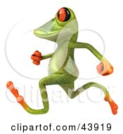 Clipart Illustration Of A Cute 3d Green Tree Frog Running Or Jogging By