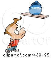Royalty Free RF Clip Art Illustration Of A Cartoon Sad Kid Staring At A Cookie Jar On A Shelf by toonaday