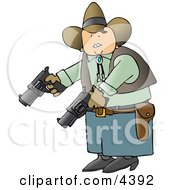 Cowboy Holding And Pointing Two Pistols Towards The Ground