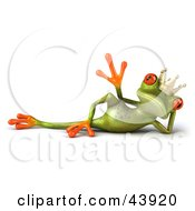 Clipart Illustration Of A Reclined And Waving 3d Green Tree Frog Prince Or King With Big Red Eyes