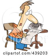 Royalty Free RF Clip Art Illustration Of A Cartoon Unemployed Man Searching For Jobs In The Newspaper by toonaday