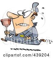Cartoon Plumber Running With A Plunger