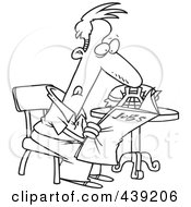 Royalty Free RF Clip Art Illustration Of A Cartoon Black And White Outline Design Of An Unemployed Man Searching For Jobs In The Newspaper