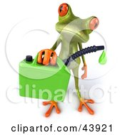 Clipart Illustration Of A Cute 3d Green Tree Frog Holding A Dripping Gasoline Can