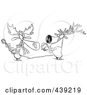 Royalty Free RF Clip Art Illustration Of A Cartoon Black And White Outline Design Of A Moose And Elk Jamming In The Snow by toonaday