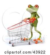 3d Green Tree Frog Pushing A Shopping Cart