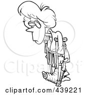 Royalty Free RF Clip Art Illustration Of A Cartoon Black And White Outline Design Of A Judo Woman With Crutches by toonaday