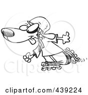 Royalty Free RF Clip Art Illustration Of A Cartoon Black And White Outline Design Of A Dog Roller Blading by toonaday