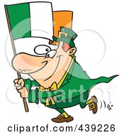 Royalty Free RF Clip Art Illustration Of A Cartoon Man Carrying An Irish Flag by Ron Leishman