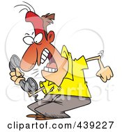 Royalty Free RF Clip Art Illustration Of A Cartoon Irate Man Screaming Into A Phone by toonaday