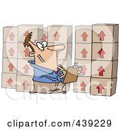 Royalty Free RF Clip Art Illustration Of A Cartoon Man Taking Inventory