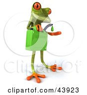 Clipart Illustration Of A Cute 3d Green Tree Frog Holding A Green Gas Can