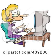 Royalty Free RF Clip Art Illustration Of A Cartoon Friendly Woman Imputing An Order