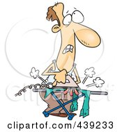 Royalty Free RF Clip Art Illustration Of A Cartoon Clueless Man Ironing Laundry
