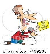 Royalty Free RF Clip Art Illustration Of A Cartoon Infomercial Host Holding A Buy Or Else Sign by toonaday