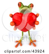 Sweet 3d Green Tree Frog Holding Out A Big Red Heart