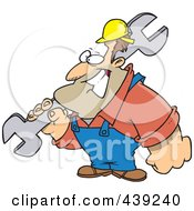 Cartoon Strong Builder Carrying A Wrench