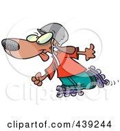 Royalty Free RF Clip Art Illustration Of A Cartoon Dog Roller Blading