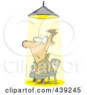 Royalty Free RF Clip Art Illustration Of A Cartoon Interrogated Man Sitting Under A Light