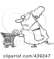 Royalty Free RF Clip Art Illustration Of A Cartoon Black And White Outline Design Of A Grumpy Woman Grocery Shopping