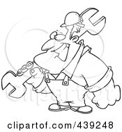Royalty Free RF Clip Art Illustration Of A Cartoon Black And White Outline Design Of A Strong Builder Carrying A Wrench by toonaday