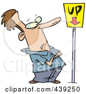 Royalty Free RF Clip Art Illustration Of A Cartoon Man Looking At An Up Sign Pointing Down