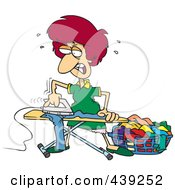 Royalty Free RF Clip Art Illustration Of A Cartoon Mad Housewife Ironing Clothes by toonaday