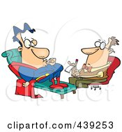 Royalty Free RF Clip Art Illustration Of A Cartoon Insecure Super Hero Talking To A Therapist