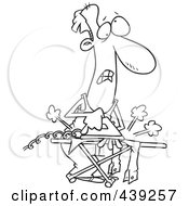 Royalty Free RF Clip Art Illustration Of A Cartoon Black And White Outline Design Of A Clueless Man Ironing Laundry