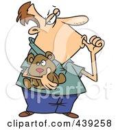 Royalty Free RF Clip Art Illustration Of A Cartoon Insecure Man Sucking His Thumb