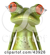 Clipart Illustration Of A Wise 3d Green Tree Frog Wearing Spectacles And Facing Front