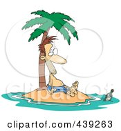 Royalty Free RF Clip Art Illustration Of A Cartoon Stranded Man Staring At A Message In A Bottle by toonaday