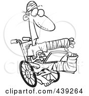 Royalty Free RF Clip Art Illustration Of A Cartoon Black And White Outline Design Of An Injured Guy Using A Laptop In A Wheelchair by toonaday