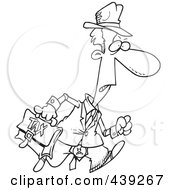 Royalty Free RF Clip Art Illustration Of A Cartoon Black And White Outline Design Of A Grumpy Tax Man
