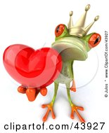 Clipart Illustration Of A Romantic 3d Green Frog Prince Wearing A Crown And Holding A Red Heart