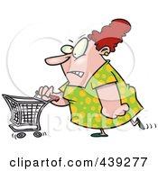 Royalty Free RF Clip Art Illustration Of A Cartoon Grumpy Woman Grocery Shopping