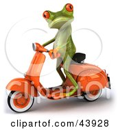 Clipart Illustration Of A Cute 3d Green Tree Frog Standing Up On An Orange Scooter