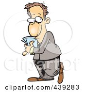 Royalty Free RF Clip Art Illustration Of A Cartoon Introverted Businessman Hiding Papers by toonaday