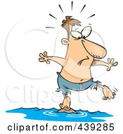 Royalty Free RF Clip Art Illustration Of A Cartoon Stranded Man Standing On A Tiny Island by toonaday