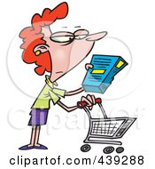 Royalty Free RF Clip Art Illustration Of A Cartoon Shopping Woman Reading An Ingredient Label