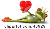Clipart Illustration Of A Reclined 3d Green Frog Prince Wearing A Crown And Holding Up A Red Heart