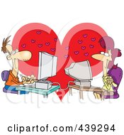 Royalty Free RF Clip Art Illustration Of A Cartoon Couple Meeting Online