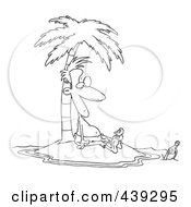 Cartoon Black And White Outline Design Of A Stranded Man Staring At A Message In A Bottle