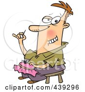 Royalty Free RF Clip Art Illustration Of A Cartoon Man Knitting An Intricate Design by toonaday