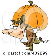 Royalty Free RF Clip Art Illustration Of A Cartoon Pilgrim Carrying A Heavy Pumpkin by toonaday