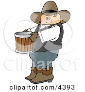 Cowboy Farmer Carrying An Empty Bucket