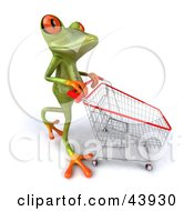 Clipart Illustration Of A Shopping 3d Green Tree Frog Pushing A Cart