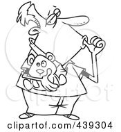Royalty Free RF Clip Art Illustration Of A Cartoon Black And White Outline Design Of An Insecure Man Sucking His Thumb