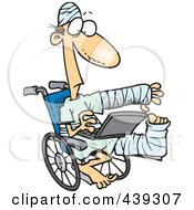 Royalty Free RF Clip Art Illustration Of A Cartoon Injured Guy Using A Laptop In A Wheelchair by toonaday