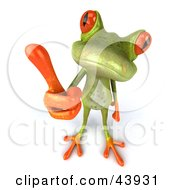 Clipart Illustration Of A Cute 3d Green Tree Frog Giving The Thumbs Up